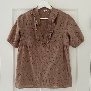 Joie eyelet taupe brown top size small